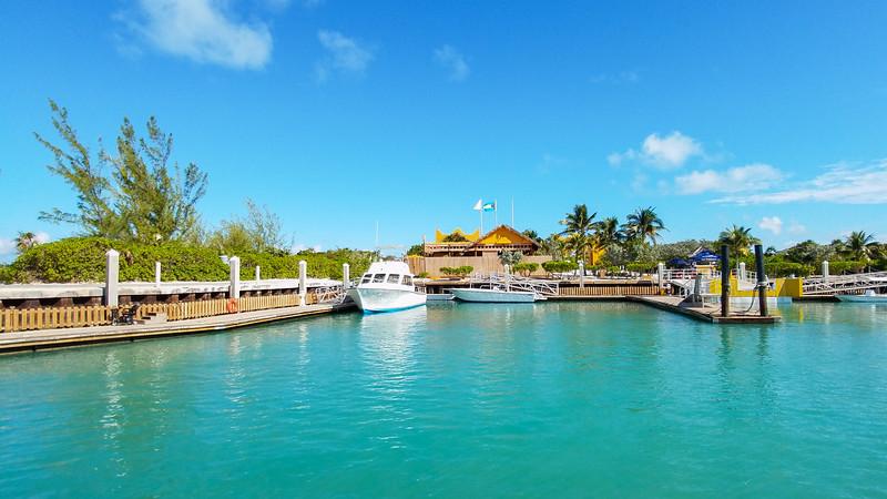 Ready to dock at Half Moon Cay in the Bahamas.