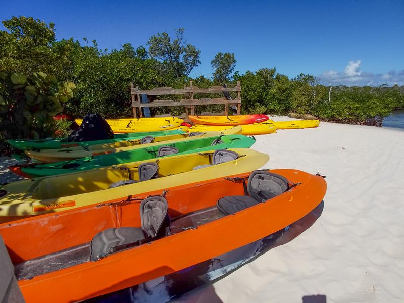 Kayak rentals at Half Moon Cay in the Bahamas.
