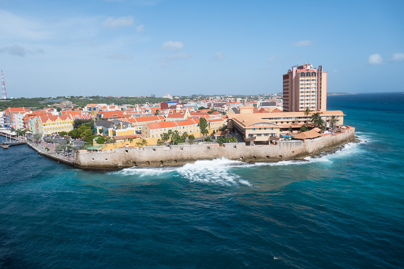 Leaving Curacao and the Old Fortification Walls.