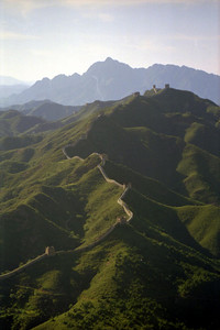 The Great Wall of China at Sumitai as the sun begins its decent. ... August 3, 2004 ... Copyright Robert Page III