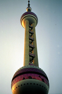 The Oriental Pearl TV Tower (468m/1,535f, 14 stories, built in 1994). ... August 9, 2004 ... Copyright Robert Page III