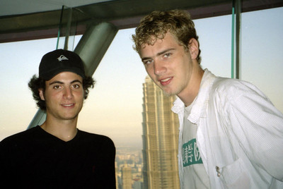 Pedro Mendoza and Rob Page in the Pearl TV Tower with the Jin Mao Tower behind us. ... August 9, 2004 ... Copyright Robert Page III