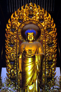 A big Buddha at the Longhua Temple Complex. ... August 7, 2004 ... Copyright Robert Page III