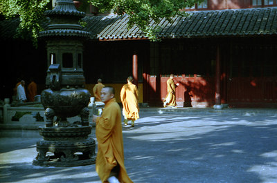 Monks at the Longhua Temple Complex. ... August 7, 2004 ... Copyright Robert Page III