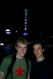 Rob Page and Pedro Mendoza in front of the Pearl TV Tower in Shanghai, China.  August 7, 2004 Copyright Robert Page III