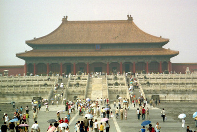 The Hall of Supreme Harmony (Taihedian).  This is the tallest building within the Forbidden City.  It served as a reception area and a place for ceremonies for the emperor.  Originally constructed in 1406, it has been repaired numerous times since then. ... August 2, 2004 ... Copyright Robert Page III
