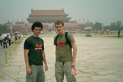 Pedro Mendoza and Rob Page in front of Tiananmen Gate in Tiananmen Square.  August 3, 2004 Copyright Robert Page III