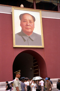 The portrait of Mao overlooking his people from the Tiananmen Gate. ... August 2, 2004 ... Copyright Robert Page III
