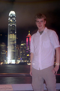 Look, Rob is transparent.  Well I messed up a little with this self portrait, but that is the International Financial Center (412m/1,351f, 88 floors, built in 2003) over my right shoulder. ... July 28, 2004 ... Copyright Robert Page III