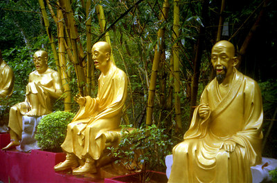 Some of the many life size buddhas on the way up nearly 500 steps to the 10,000 buddha monastary.  This is one of the most important religious site in Hong Kong and has nearly 12,000 buddhas of all sizes. Located in Shatin.  ... July 29, 2004 ... Copyright Robert Page III