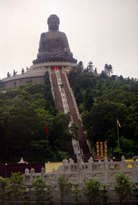 The Big Buddha on Lantau Island at the Po Lin Monastary.  As one flies into the Hong Kong airport they can see this Big Buddha.  The Buddha was built in the early 1990's, but is now a large tourist draw. ... July 29, 2004 ... Copyright Robert Page III