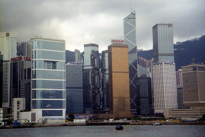 The Hong Kong skyline with the Bank of China Tower (367m/1,205f, 72 stories, built in 1990) rising above all the rest. ... July 28, 2004 ... Copyright Robert Page III