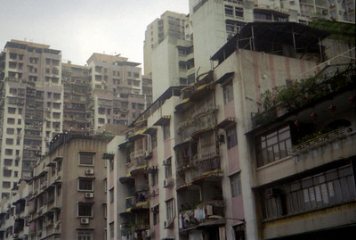 The old apartment complexes of Macau.  This is one of the most densely populated cities in the world. ... July 27, 2004 ... Copyright Robert Page III