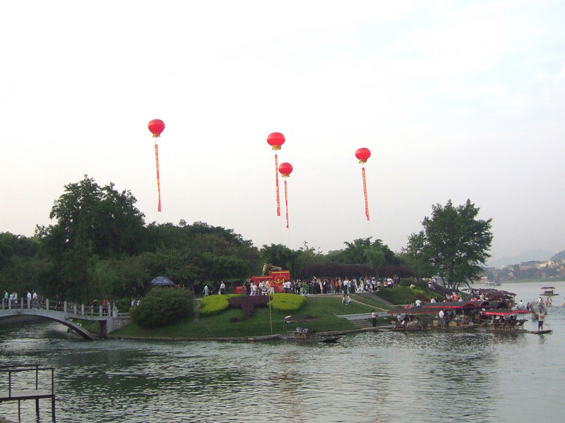 Festive atmosphere for the National Labor Holiday at the Guilin Park on the Li River