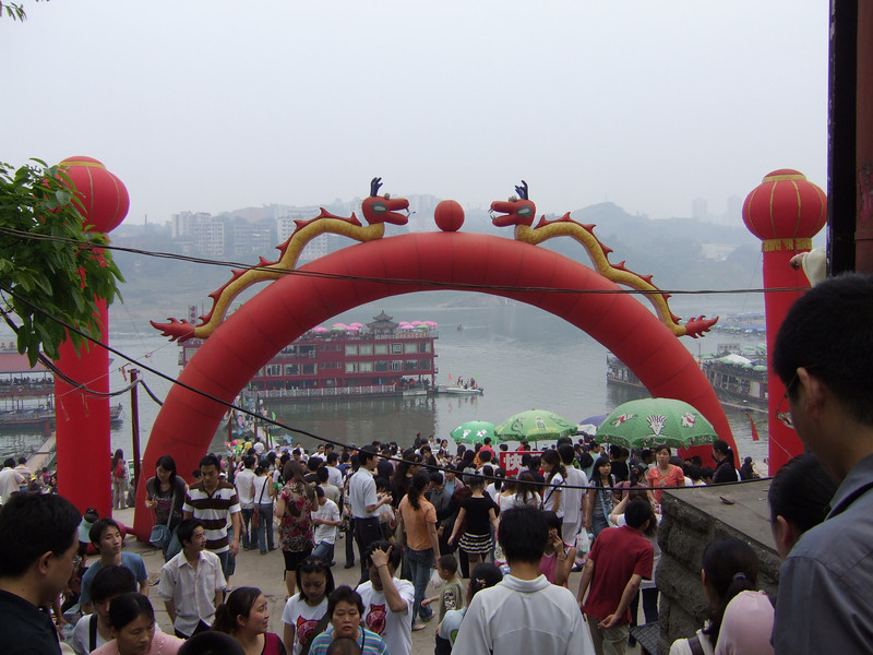 Old Town Market Area in Quongqing - May Labor Holiday
