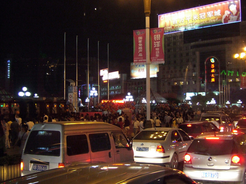 People hit the streets for the National Labor Holiday near the Park and Mall in Guilin