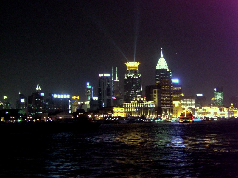 Shanghai at night from the Harbor