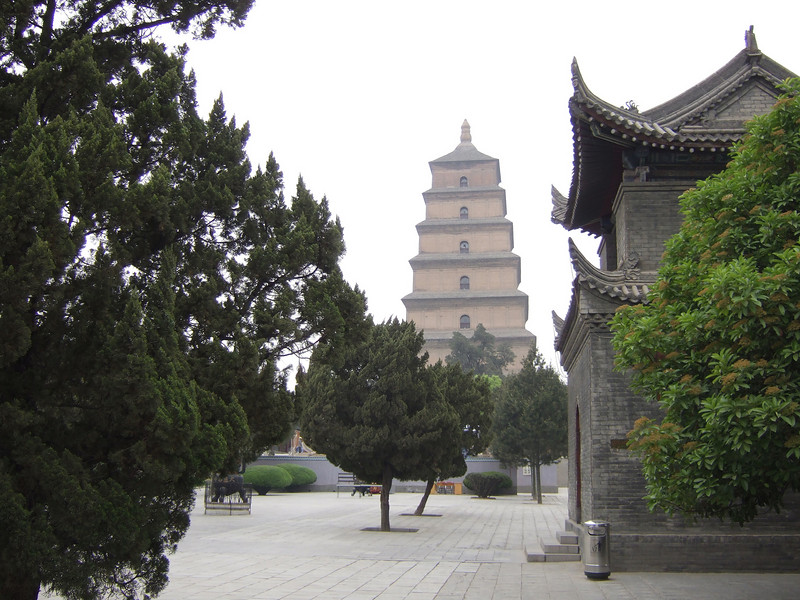 Walking up to the Goose Pagoda in the haze