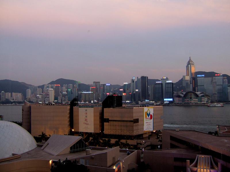Dusk falling on Hong Kong Harbor