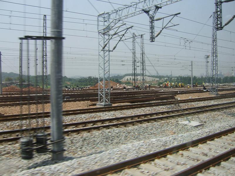 Working on the railroad tracks between Hong Kong and Hangzhou