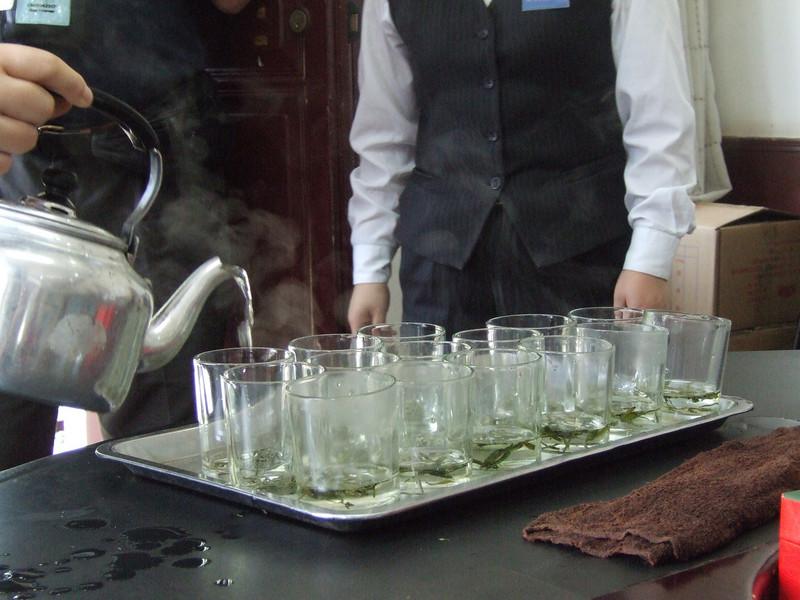 Longjing Green Tea being prepared