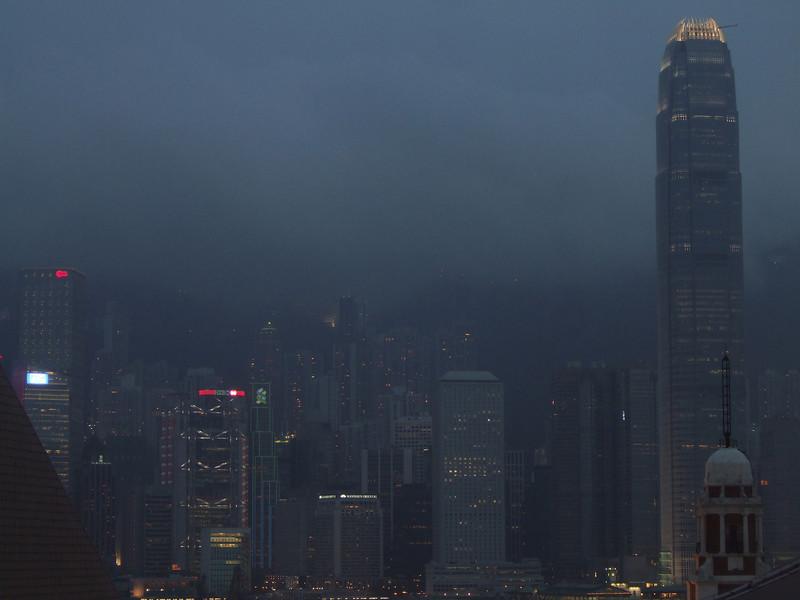Night falling on Hong Kong Harbor
