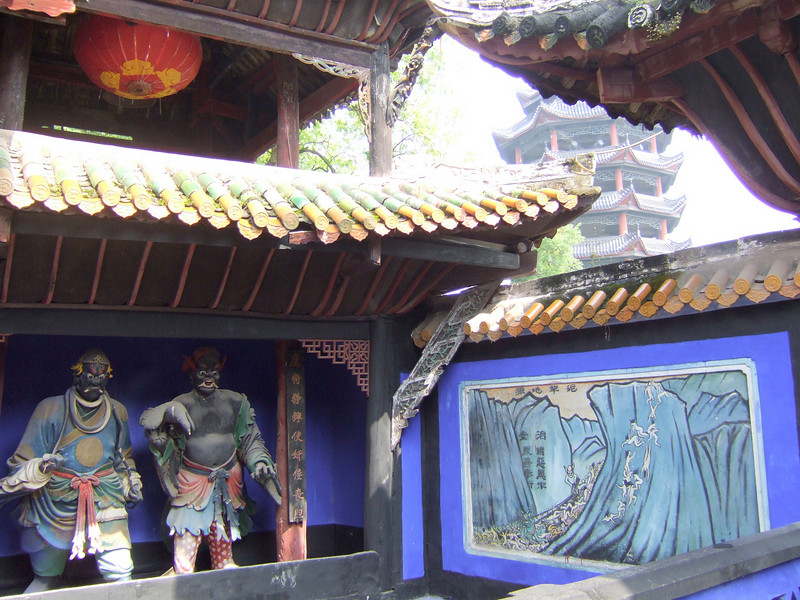 Feng-Du deities with the Shibaozhai Temple in the background