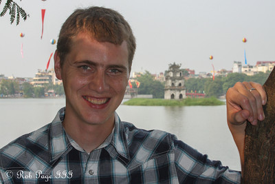 Rob enjoying the day with the Tortoise Temple on Hoan Kiem Lake in the background- Hanoi, Vietnam ... October 11, 2012 ... Photo by Emily Page