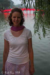Emily in front of the Huc Bridge on Hoan Kiem Lake - Hanoi, Vietnam .... October 11, 2012 ... Photo by Rob Page III