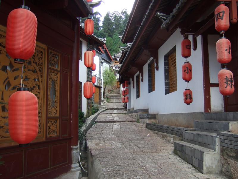 Street outside the Lijiang Jiannanchun Hotel