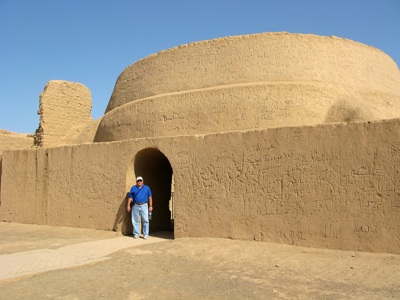 Tourist at the Gaochang Ruins - Destroyed by Mongols in the 13th century
