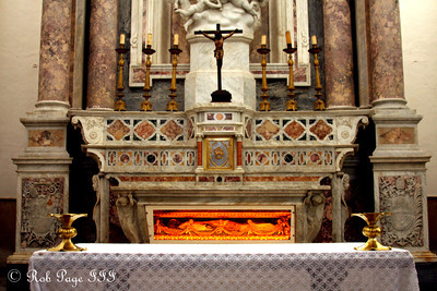 The altar at Iglesia de San Pedro Claver.  The bones in background are those of San Pedro Claver - Cartagena, Colombia ... October 15, 2011 ... Photo by Rob Page III