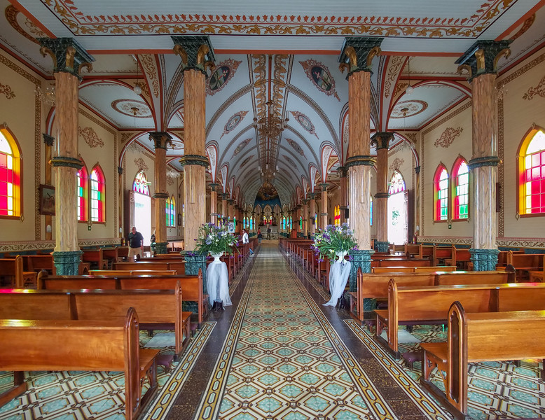 Inside the Catholic Church in Sarchi, Costa Rica.