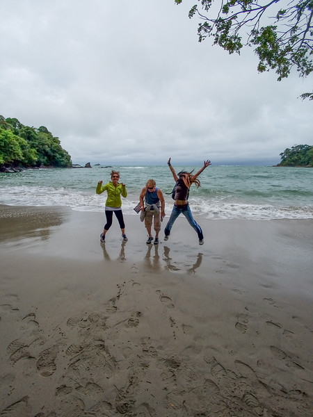 Crazed jumping tourists at the Manuel Antonio National Park, Costa Rica.