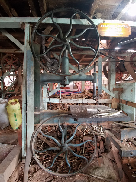 Antique equipment inside an Ox Cart factory in Sarchi, Costa Rica.