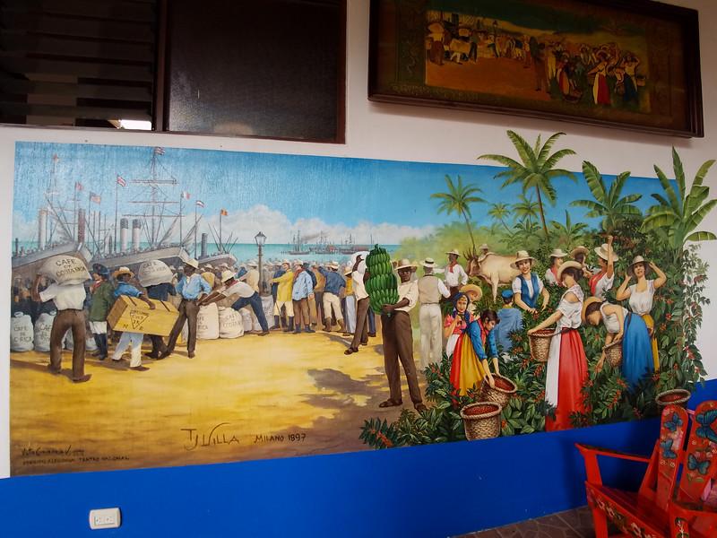 Wall art inside an Ox Cart factory in Sarchi, Costa Rica.