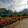 Inside the Baldi Hot Springs Park, Costa Rica. Volcano Arenal is in the background.