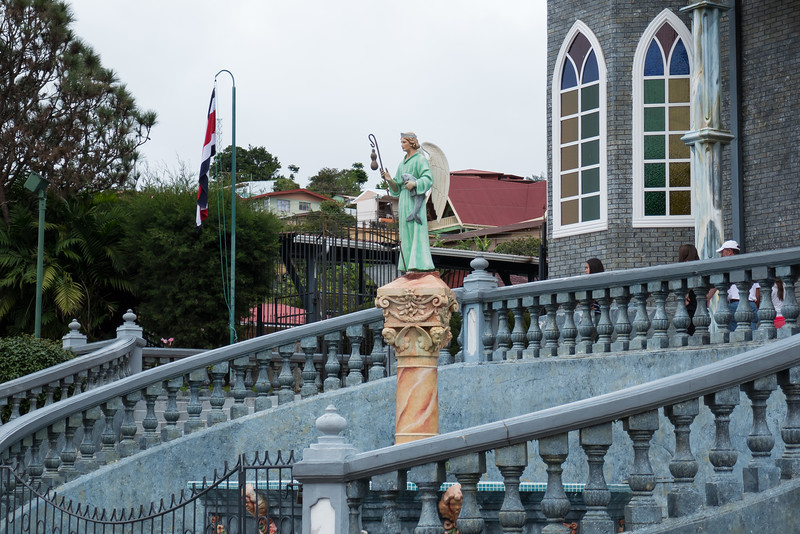 Statue at the front of the Caholic Church in Sarchi, Costa Rica.