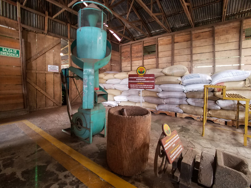 Coffee storage and processing at Doka Plantation.
