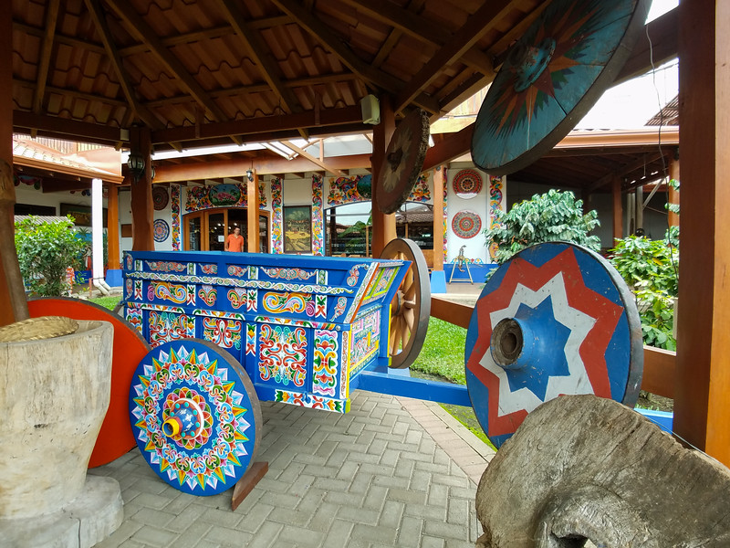Beautiful Ox Cart art on display in the factory in Sarchi, Costa Rica.