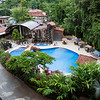 The pool area of the Sanbada Hotel which borders Manuel Antonio National Park in Costa Rica.