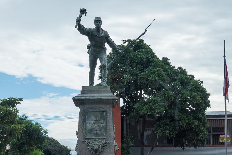 Juan Santamaria stature in San Jose, Costa Rica