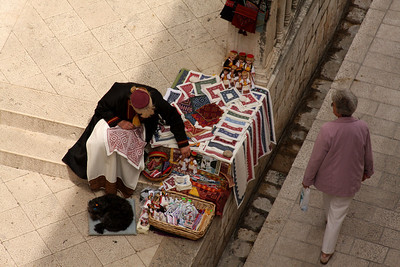 Selling hand stitched lace - Dubrovnik, Croatia ... April 29, 2008 ... Photo by Rob Page III