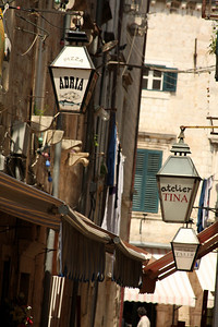The lanterns that mark each of the shops down the alleyway - Dubrovnik, Croatia ... May 1, 2008 ... Photo by Rob Page III