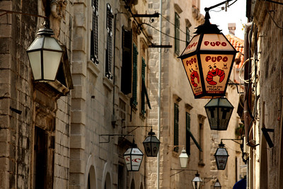 Lanterns in the street that identify each of the stores and restaurants - Dubrovnik, Croatia ... May 1, 2008 ... Photo by Rob Page III