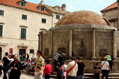 Onofrio's Fountain.  It was built in 1438, built was heavily damaged in 1667.  It brings fresh water to the city from 12 km away - Dubrovnik, Croatia ... May 1, 2008 ... Photo by Rob Page III