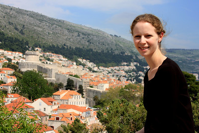 Emily with the city walls in the background - Dubrovnik, Croatia ... May 1, 2008 ... Photo by Rob Page III