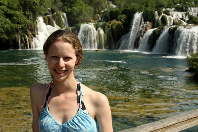 Emily and waterfalls - Krka N.P., Croatia ... May 8, 2008 ... Photo by Rob Page III