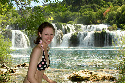 Emily decides to venture into the cold water - Krka N.P., Croatia ... May 8, 2008 ... Photo by Rob Page III