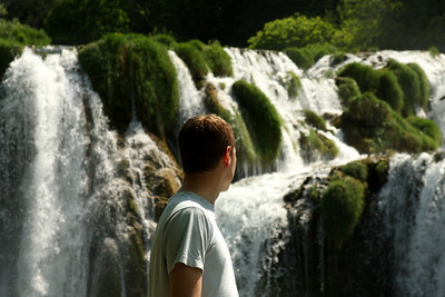 Rob looking out at the falls - Krka N.P., Croatia ... May 8, 2008 ... Photo by Emily Page
